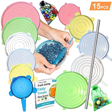 15 Pack Silicone Stretch Lids 12pcs, Metal Drinking Straw + 2 Gift bags, Various Sizes and Shape of Containers, Reusable, Durable + Expandable Food Covers, Keeping Food Fresh, Dishwasher