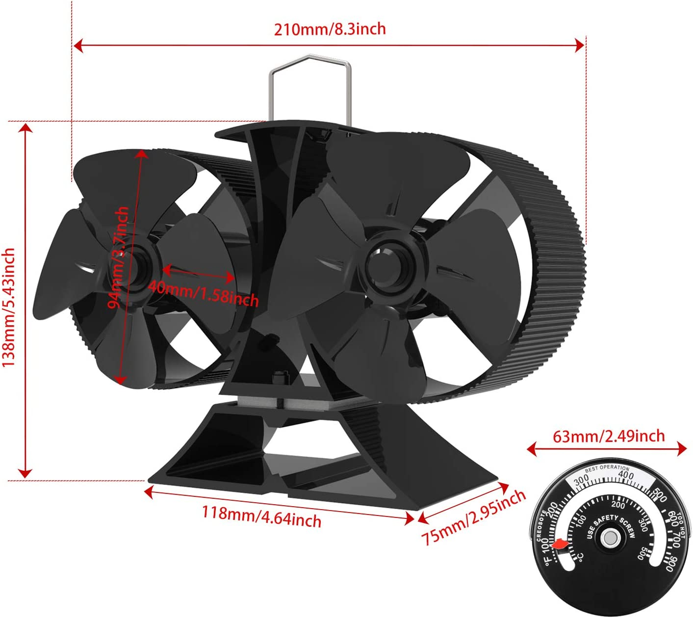 Aluminium Black, Twin Motors KINDEN Mini Wood Stove Fan 8-Blade 5.5 Inch Height Fireplace Fan Eco-Friendly with Stove Thermometer
