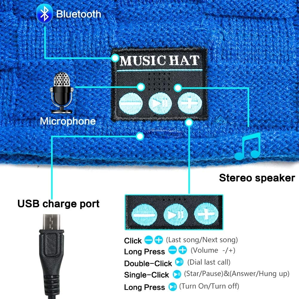 Unisex Music Cap USB Charging for Sports Running Walking Ski Camping Bike Gifts Bluetooth Beanie with Headphone Wireless Music Hat Cap