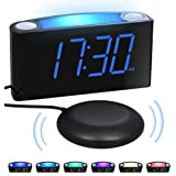Extra Loud vibrating Alarm Clock with Bed Shaker for Heavy Sleepers Deaf Hearing Impaired Seniors Bedrooms - Night Light, Lar