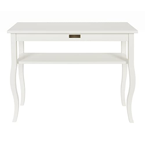 Kate and Laurel Lillian Wood Console Table with Curved Legs and Shelf, 36 x 12 White
