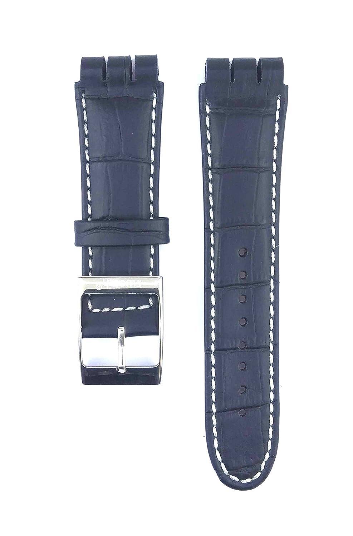 フィットSwatc。XL Irony The Chrono yos409 23 mmブラックカラーレザー時計ストラップ430swc  B07C9SC5FY