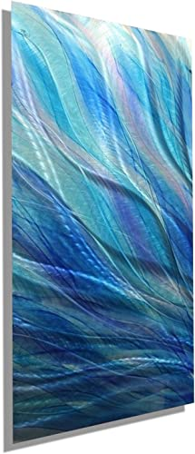 Statements2000, 24 x 10 , Contemporary Abstract Painting, Blue Aqua Silver Handpainted Metal Wall Art Home Decor Accent. Glory by Jon Allen