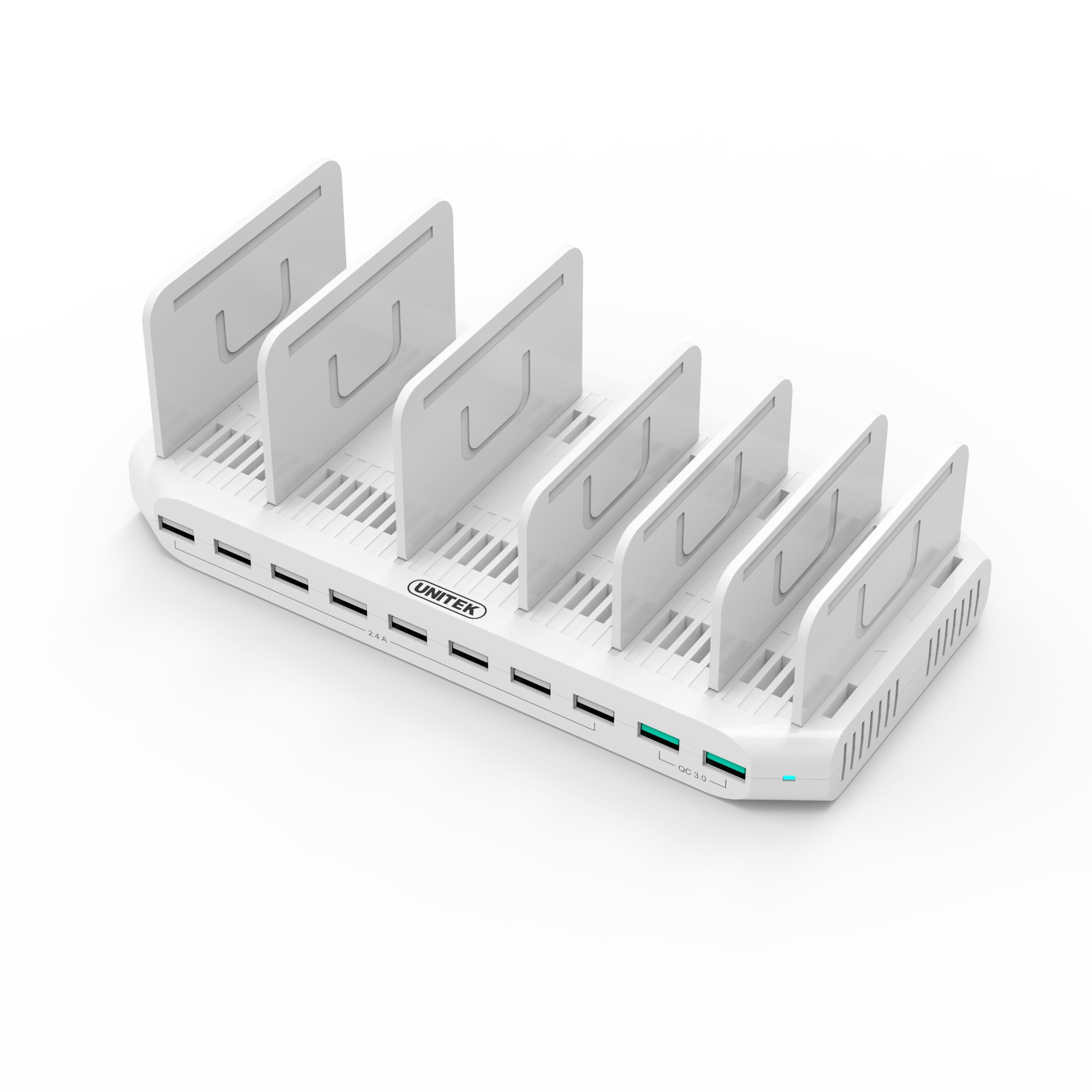iPad Charging Station, Unitek 96W 10-Port USB Charging Dock Hub with Quick Charge 3.0, Charging Stand Compatible Multiple Device, Charging 8 iPads Simultaneously - White [Upgraded Divider]
