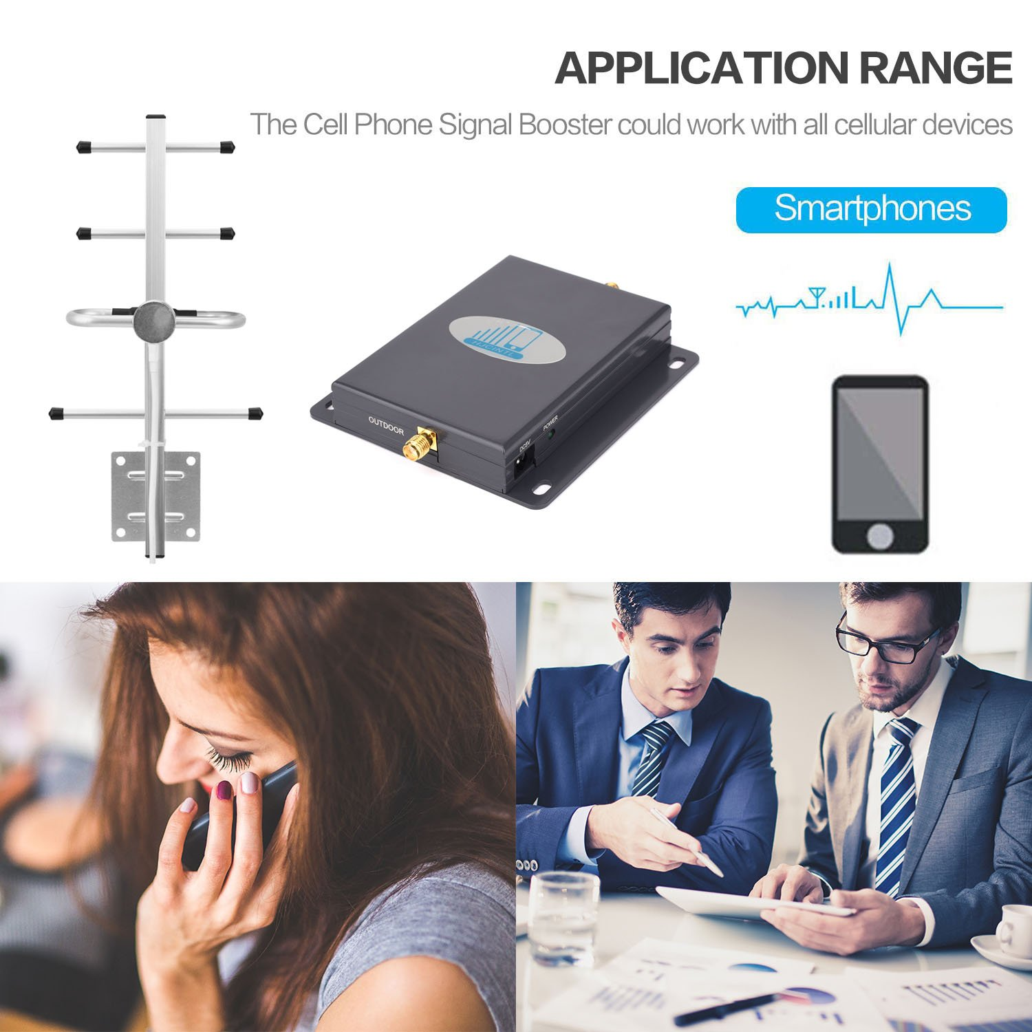 Cell Phone Signal Booster 4G Lte Verizon Cell signal Booster HJCINTL High Gain 65dB Band13 700MHz Home Mobile Phone Signal Booster Amplifier with Yagi/Whip by HJCINTL (Image #5)