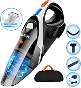 Handheld Vacuum, LOZAYI 7KPA Hand Vacuum Cordless with Stronger Cyclonic Suction,Rechargeable Li-ion Battery Quick Charge, Lightweight Wet/Dry Vacuum Cleaner for Home and Car Cleaning-Orange