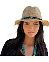 Womens Fedora Bora Bora Womens Sun, Beach Hat (Natural)
