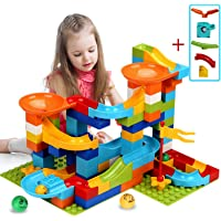 111 PCS Marble Race Track Toy BeebeeRun Marble Run Building Blocks Set for Kid Classic Big Blocks STEM Toy for 5 6 7 8 9 10 Year Old Kids