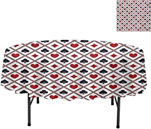 "Aishare Store Water Resistant Spill Proof Tablecloths, Holdem Gambler Hearts Spades Diamons Success Winning Mod, Tablecloth for Dinner Party Restaurant, Round 50"", Black Red"