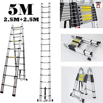 Escalera extensible telescópica de 5 m, 2,5 m + 2,5 m, retráctil, escalera plegable de aluminio de 16 peldaños: Amazon.es: Bricolaje y herramientas