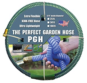 "Tuff-Guard Kink-Proof Garden Hose, Green, 5/8"" Male and Female GHT Connection, 5/8"" ID, 100' Length"
