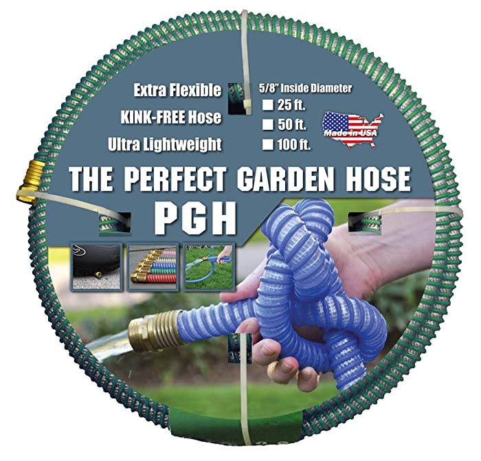 """Tuff-Guard The Perfect Garden Hose, Kink Proof Garden Hose Assembly, Green, 5/8"""" Male x Female GHT Connection, 5/8"""" ID, 50 Foot Length"""