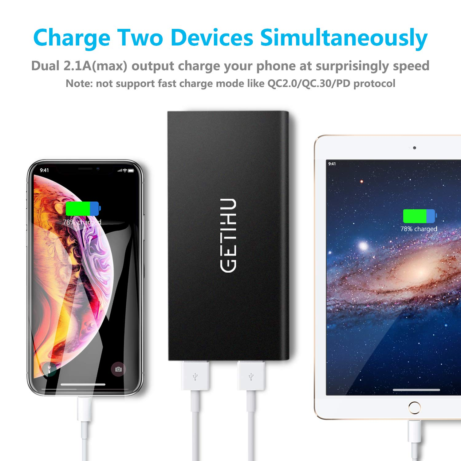 Getihu Phone Charger 10000mah Portable Power Bank Ultra Simplelm317solarchargerv10schematic Slim Led Flashlight Mobile External Battery Backup Thin 2 Usb Ports Powerbank For Iphone
