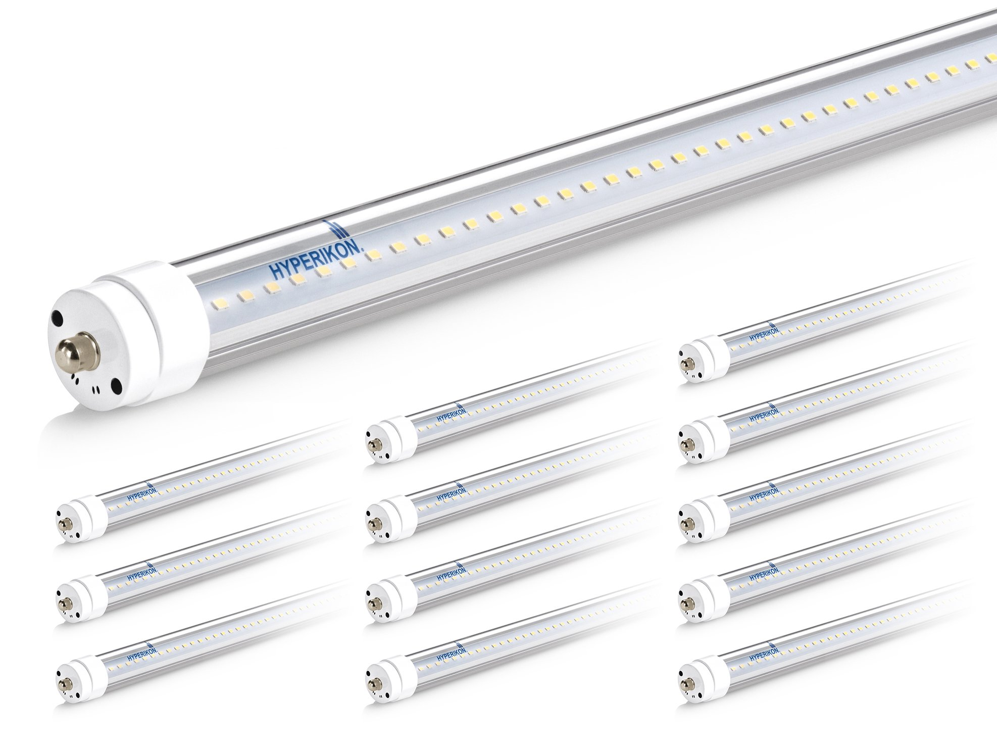 Hyperikon T8 T10 T12 8ft LED f96t12 Tube Light 36W (75W Equiv.) Dual-End Powered, Ballast Bypass, Shatterproof, Fluorescent Replacement, 6000k, Clear, 4400 Lm, Workshop, Warehouse, Garage - 12Pack