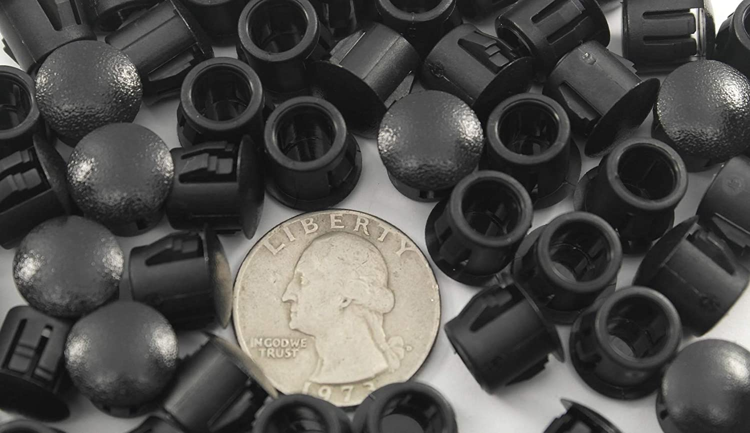 Provides Finished Appearance 3//8 Black Nylon Hole Plugs Fits 3//8 Diameter Hole 50 Durable Nylon Plug Snaps Into Hole with Locking Tabs That Hold in Place Slightly Domed Convex Surface