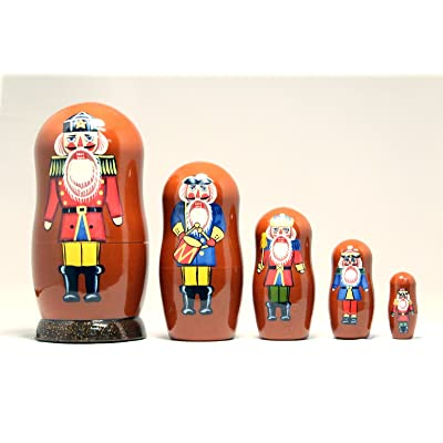 Nutcracker Soldier 5-piece Russian Wood Nesting Doll Matryoshka Stacking Dolls: Toys & Games