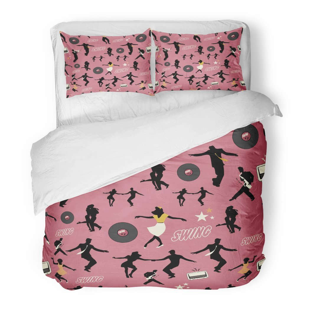 SanChic Duvet Cover Set Colorful 1940S Swing Dance Pattern Dancers and Musicians Retro Style 1950S 80S Decorative Bedding Set with 2 Pillow Shams Full/Queen Size