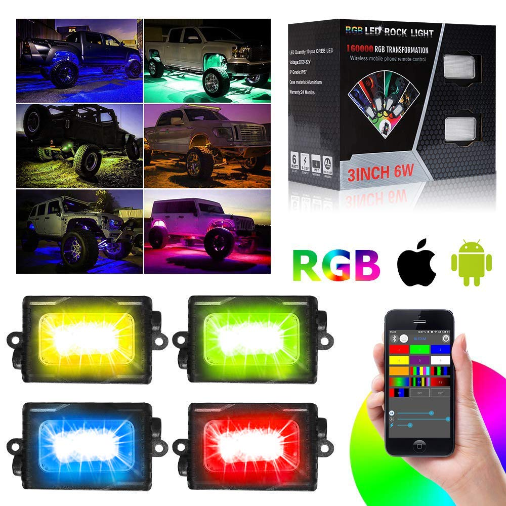 50f2671ac333d5 bordan RGB LED Rock Lights with Phone APP Bluetooth Controller,  Mode,Timing, Flashing for Jeep,SUV,Truck,Off-Road,Boat - 4 Pods Multicolor Neon  LED Light ...