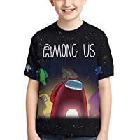 Among Us Boys' T-Shirts Impostor Game 3D Print Pullover Short Sleeve Tee for Teen Boys Girls