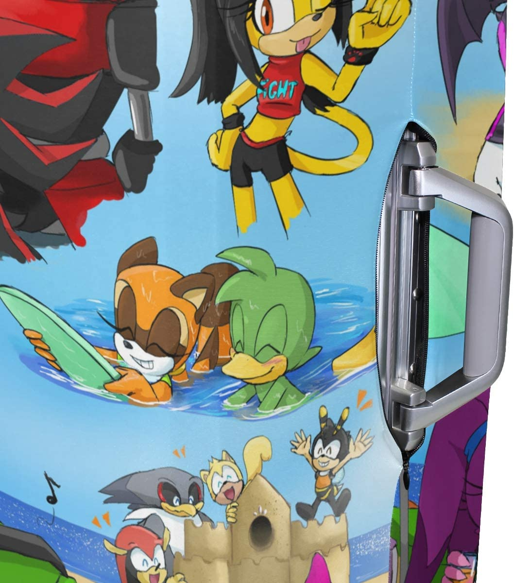 Sonic Cartoon Good Boy Travel Luggage Cover Suitcase Protector Fits 26-28 Inch Washable Baggage Covers