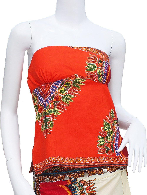 Raan Pah Muang RaanPahMuang Waxed Cotton Afrikan Dashiki Smocked Tube Top Shirt XX-Small Light Orange item186610AMZ