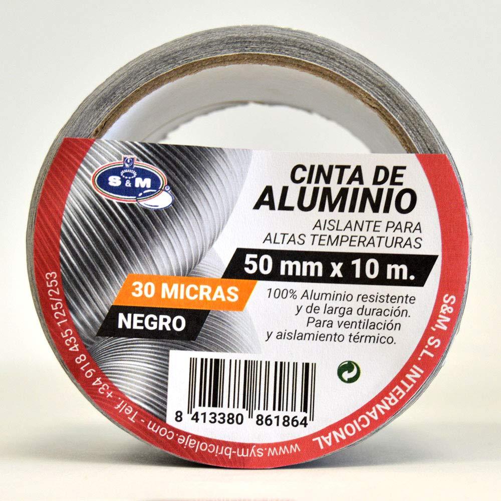 S&M Cinta aluminio negra 50 mm x 10 m (espesor 30 micras) SANEAPLAST- Cinta adhesiva de aluminio multiusos-– Rollo de 10 metros 861864