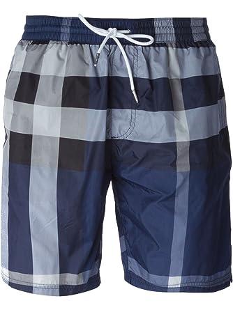 54e4947f34f1 Burberry Brit Men s Gowers Ink Navy Blue Check Plaid Swim Trunks Shorts ...