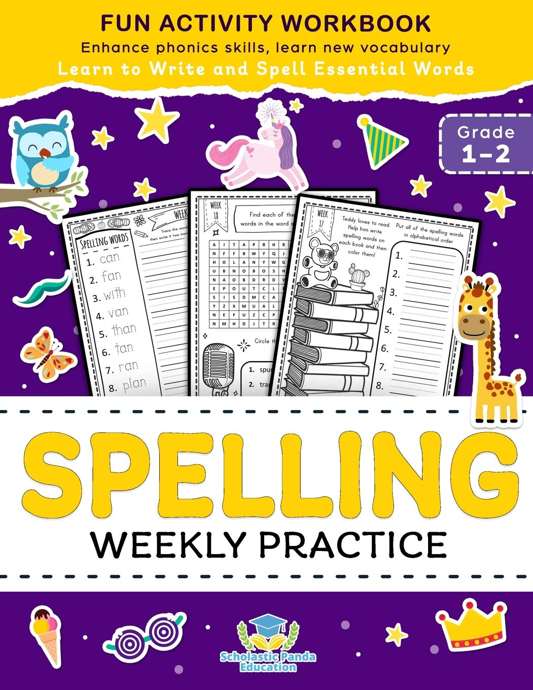 Image for Spelling Weekly Practice for 1st 2nd Grade: Learn to Write and Spell Essential Words Ages 6-8 | Kindergarten Workbook, 1st Grade Workbook and 2nd ... ... + Worksheets (Coloring Books for Kids)