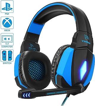 YINSAN Cascos Gaming, Auriculares Premium Stereo con Micrófono ...