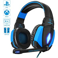 YINSAN Cascos Gaming, Auriculares Premium Stereo con Micrófono, Luz LED y Control Volumen, Diadema Acolchada y Ajustable para PS4/Xbox One X/S/Nintendo Switch/PC/Laptop/Tablet