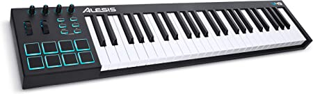 side facing alesis v49 usb midi keyboard controller