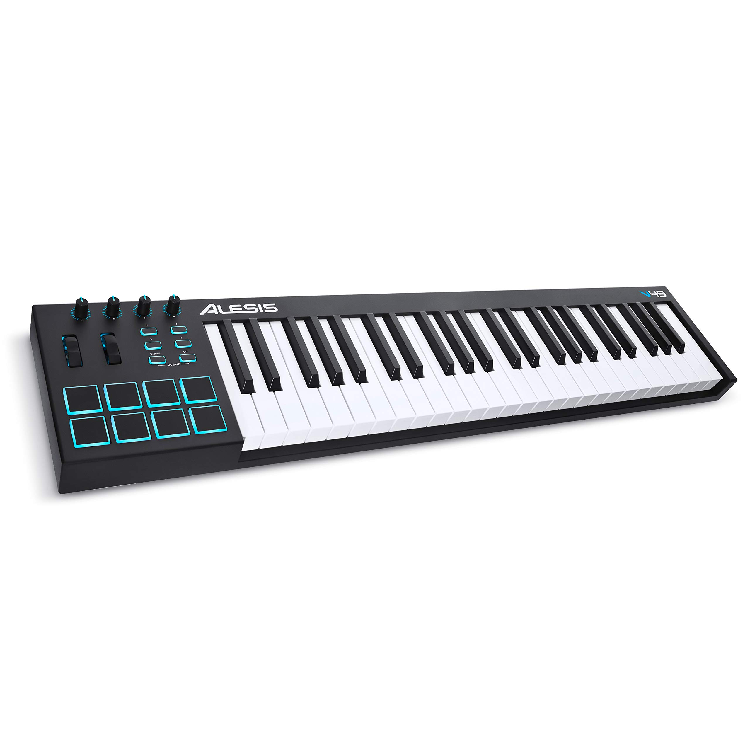 Alesis V49 | 49 Key USB MIDI Keyboard Controller with 8 Backlit Pads, 4 Assignable Knobs and Buttons, Plus a Professional Software Suite with ProTools | First Included by Alesis