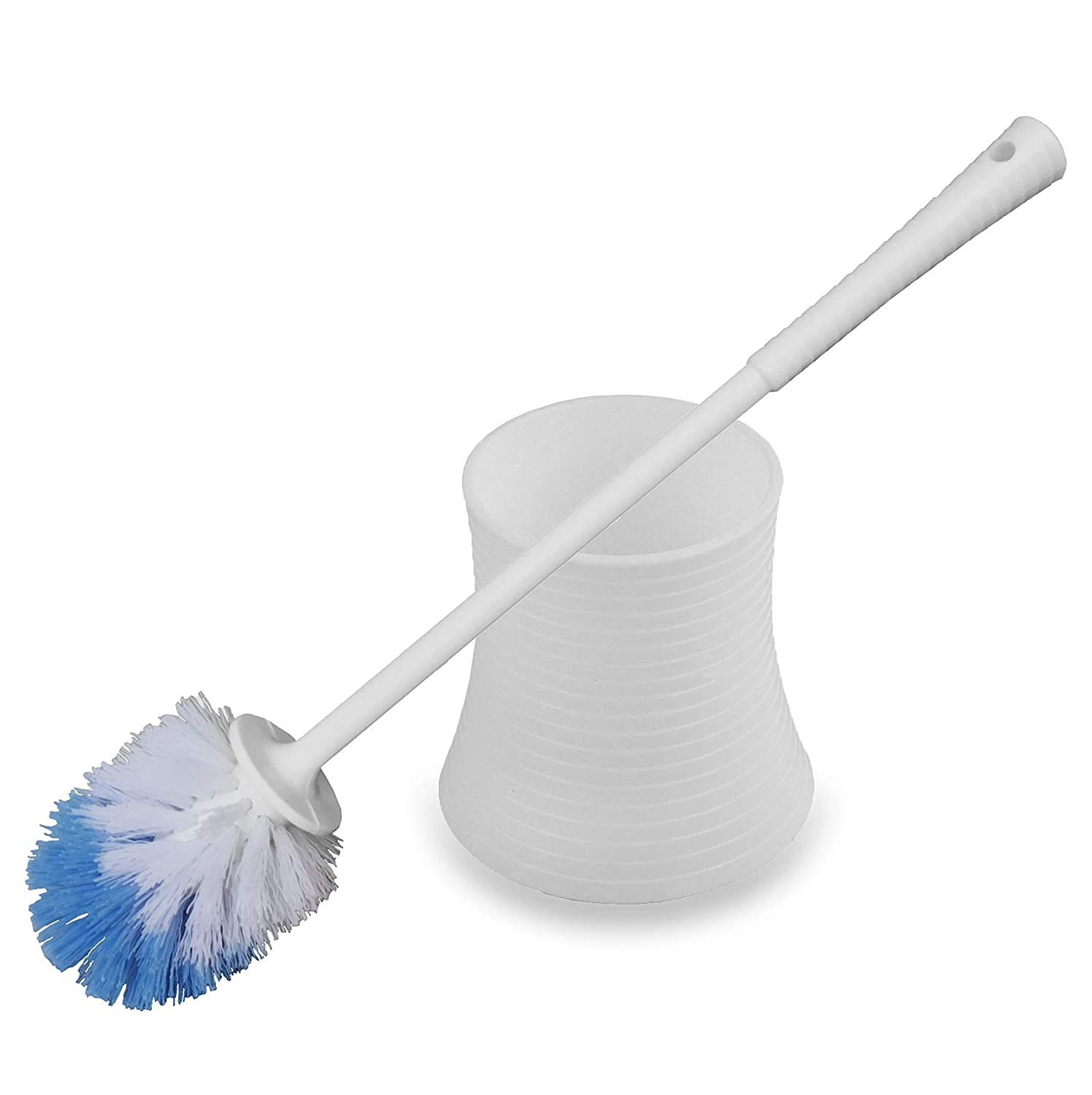 Toilet Brush,Kinsky Strong Bristles Good Grips Hideaway Compact Long Brush and Enough Heavy Base for Bathroom Toilet