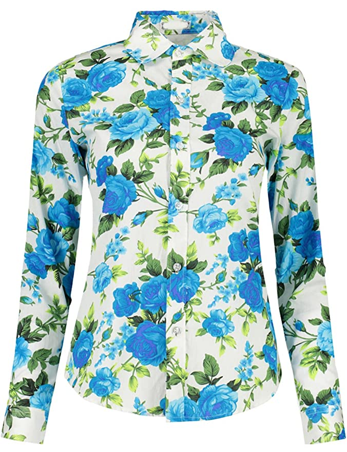 26c8a4dd916 KIMIST Women s Fashion Floral Button Down Long Sleeve Shirt Casual Blouse  Blue White  Amazon.ca  Clothing   Accessories