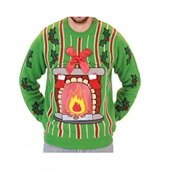 Fireplace Led Light Up Ugly Christmas Sweater Amazonfr Vêtements