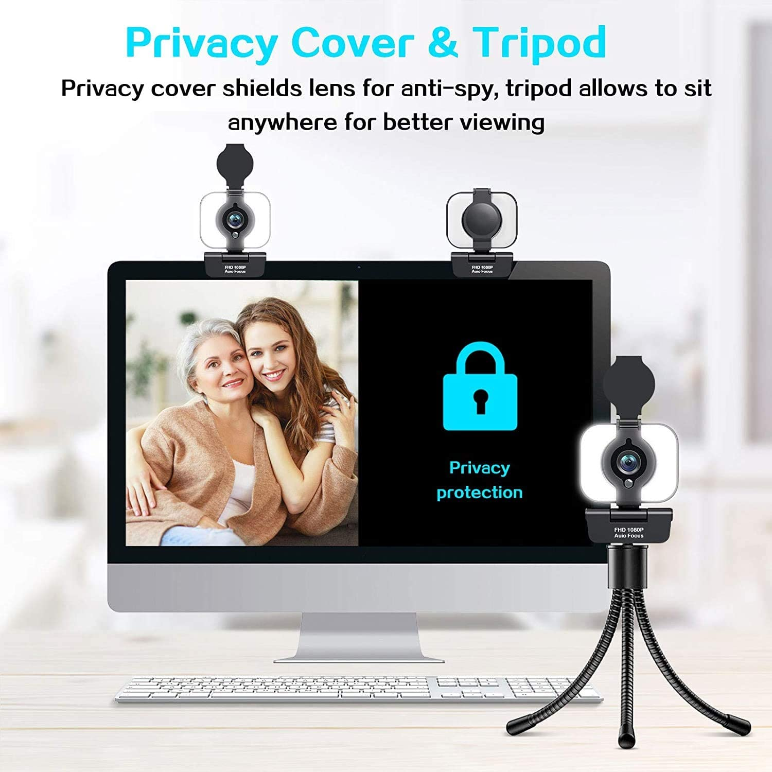 Built-in Stereo Microphone Video Calling for Laptop,Mac,Plug and Play Webcam for YouTube,Skype,Facetime,Zoom DGVDO Streaming Webcam with Tripod 1080P Web camera with Ring Light USB Web Camera with Privacy Cover Adjustable Fill Light Webcam