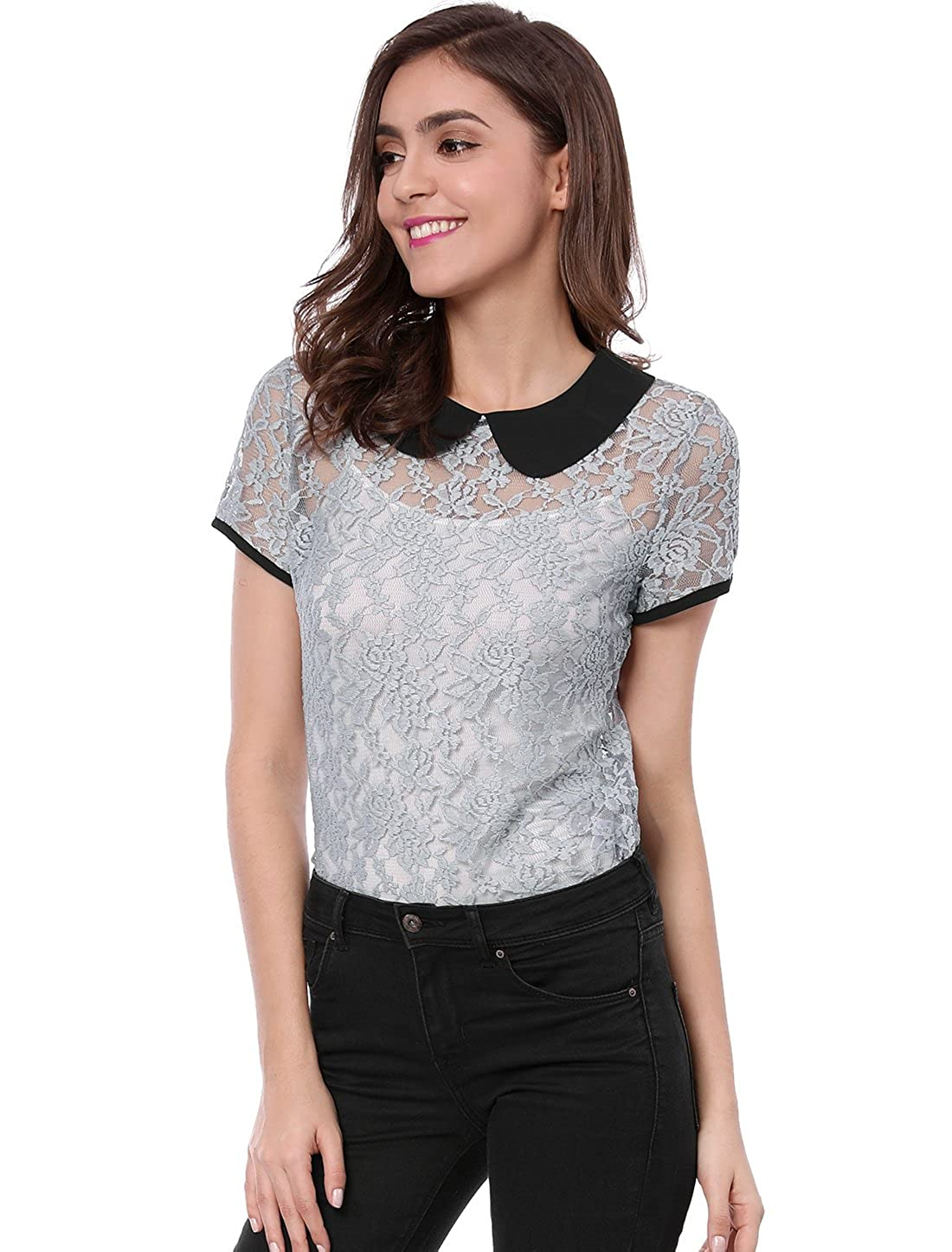 81128b2e84 Allegra K Women's See Through Contrast Peter Pan Collar Lace Top at Amazon  Women's Clothing store: