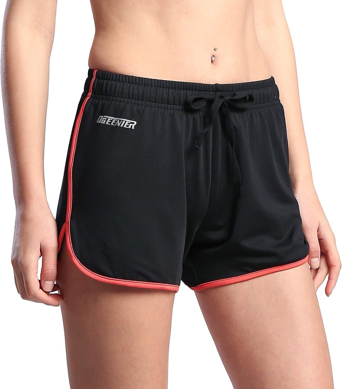 TALLA XL. Ogeenier Mujer Ligero Deporte Pantalón Corto de Malla con Forro