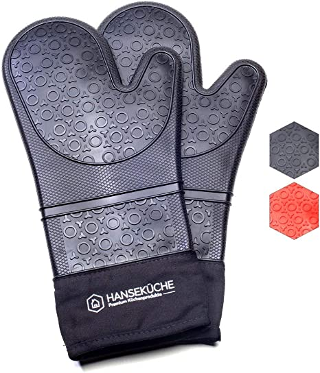 2 x Silikon Ofenhandschuh Backhandschuhe Kochhandschuhe Backofen Handschuhe Set
