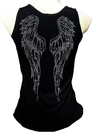 Rockabilly Punk Rock Baby Mujer Negro Camisa de la camiseta de tirantes brillantes Flying Ángel: Amazon.es: Ropa y accesorios