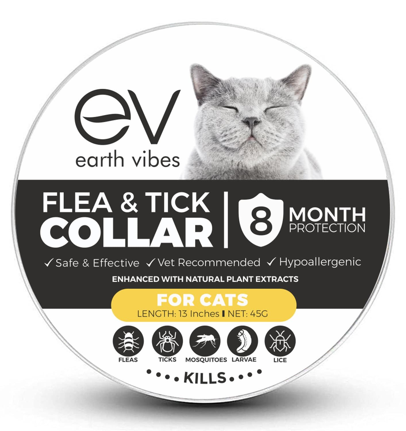 Earth Vibes Flea And Tick Collar For Cats - Vet Recommended Hypoallergenic Waterproof Natural 8 Month Protection & Prevention From Fleas Ticks Mosquitos Larvae Lice Treatment