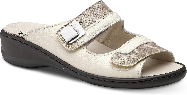 Feliz Caminar - Sandalia Piel Antideslizantes y Cómodas para Hombre y Mujer | Frescas para Vestir en Epocas de Calor Verano Primavera | Modelo Sana 18300 | Talla 37 | Color Serpiente Crema