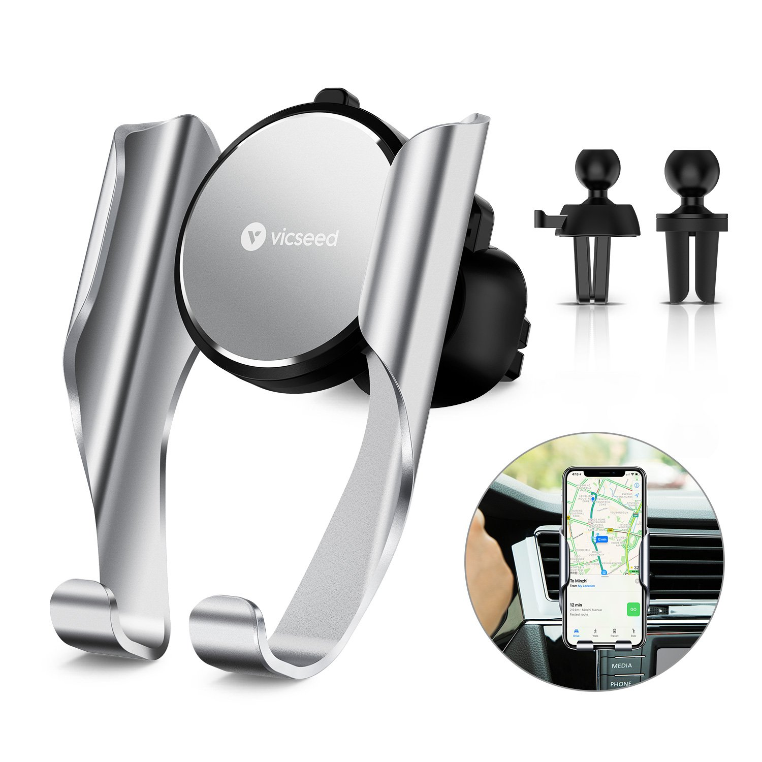Car Phone Mount,VICSEED Air Vent Cell Phone Holder Ultra Stable Car Cradle 4.5''-6'' Mobile Phones Compatible iPhone X/8/8 Plus/7/7 Plus Samsung S9/S8/S7/S7 Edge LG etc Memory Feature