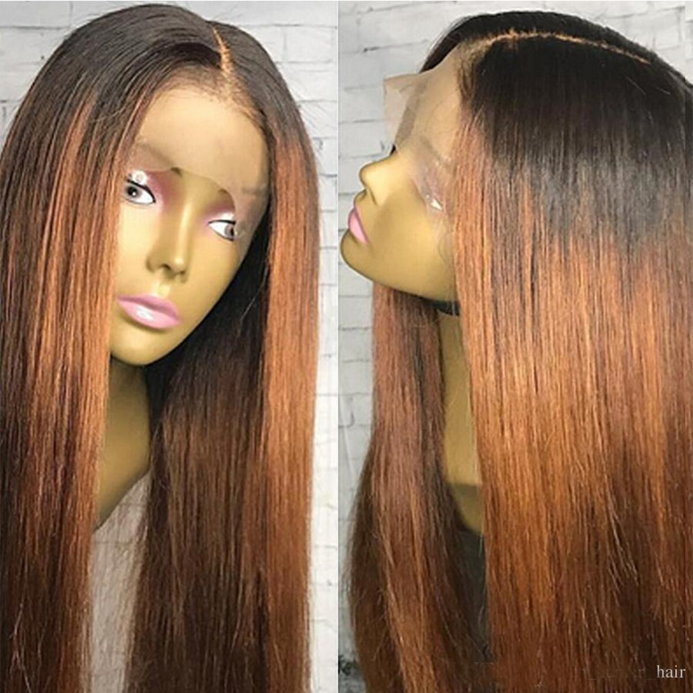 Amazon.com   Human Hair Straight full lace wig 100% Real Brazilian Hair  Ombre Black Roots 1B 30 Color 130% Density Wig For Black Women (10