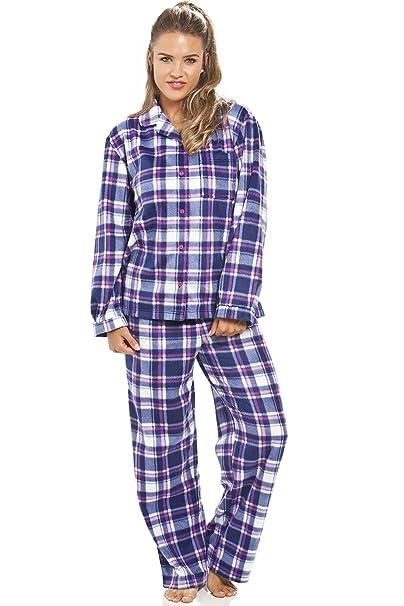 Camille - Conjunto de pijama de forro polar - Para mujer - Estampado a cuadros morados