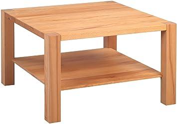 hometrends4you 255717 couchtisch silas quadratisch echtholz kernbuche massiv geolt mit ablage 70x70cm