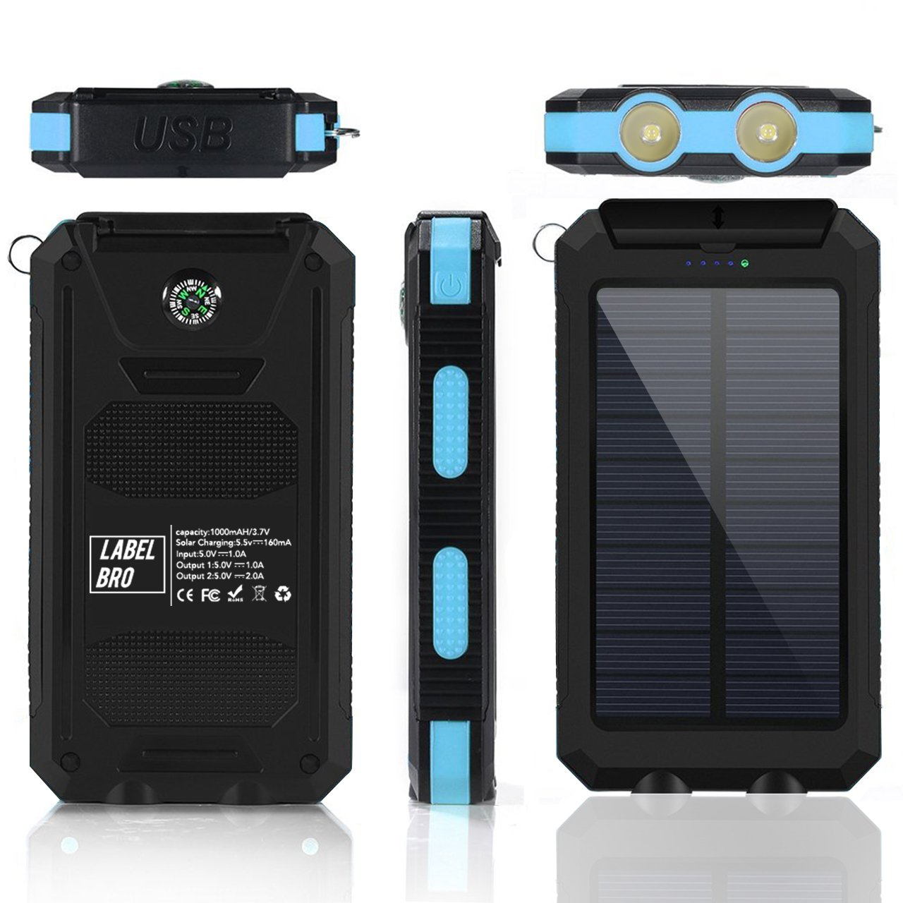 Solar Portable Charger, LabelBro Solar Battery 10000mAh Battery, Waterproof, Solar Charge, Dual LED Headlamp, Portable Compass, Outdoor Travel Solar Mobile Power, Home, Emergency (blue) by LabelBro (Image #2)