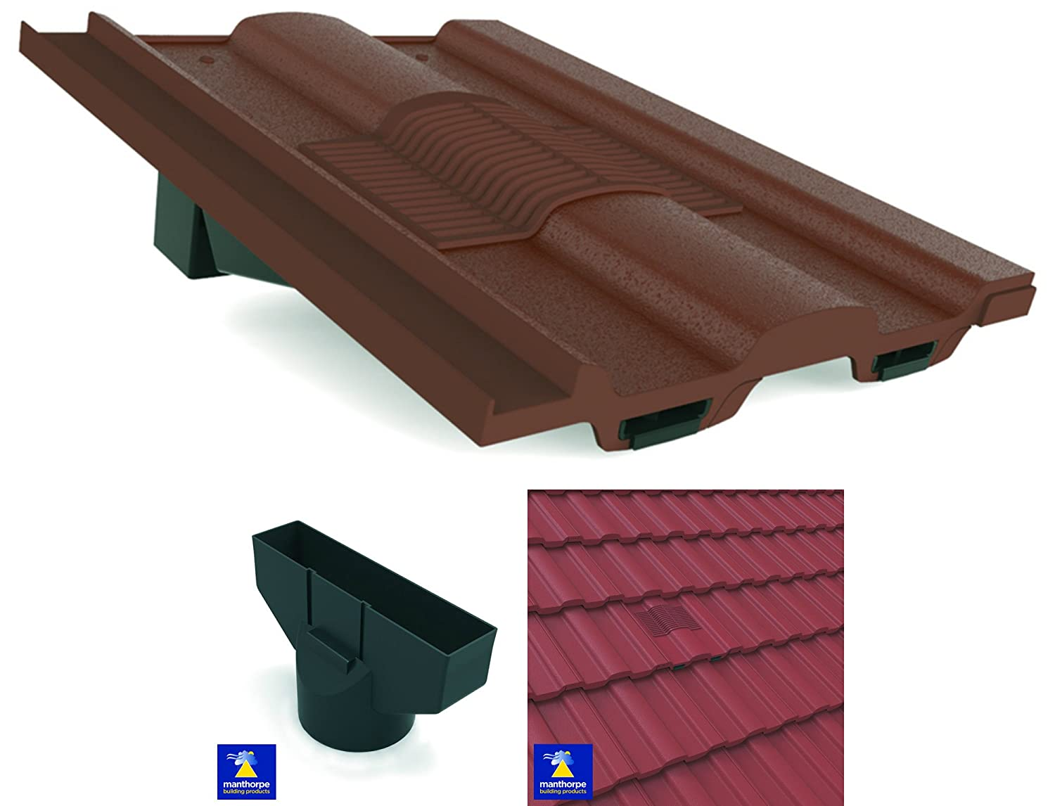 Brown Marley Ludlow Major - Redland Renown Castellated Roof In-Line Tile Vent Ventilator & Flexi Pipe Adaptor Manthorpe