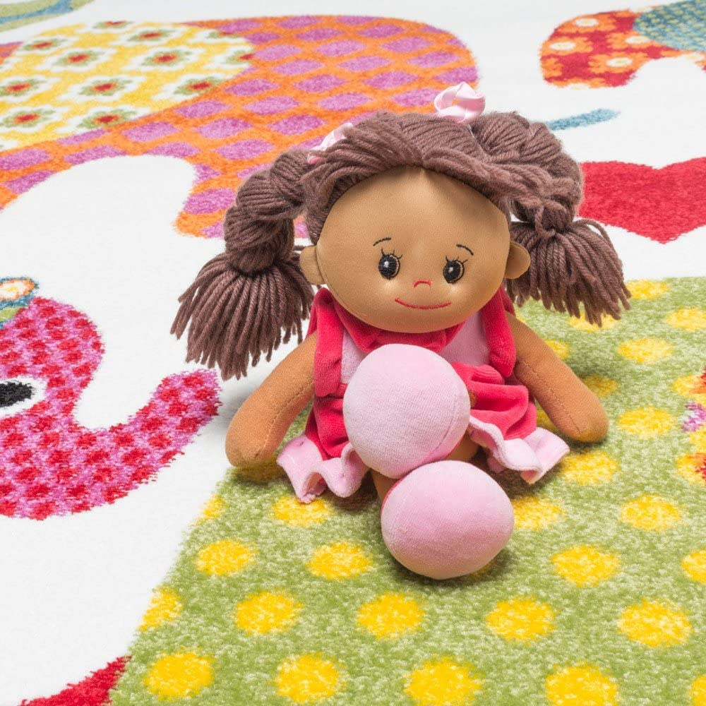 tama/ño:120x170 cm Alfombra Infantil Dise/ño Elefantes En Multicolor Crema Gris Rosa