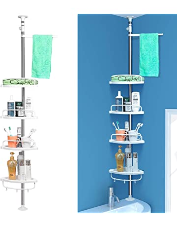 Homfa Estanterías de baño Estanteria Ducha triángulo Altura Ajustable  97-310cm 4 Niveles Gran Capacidad 8f4a7ab25f06